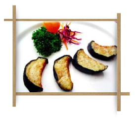 Frozen Fried Half Moon Cut Eggplant